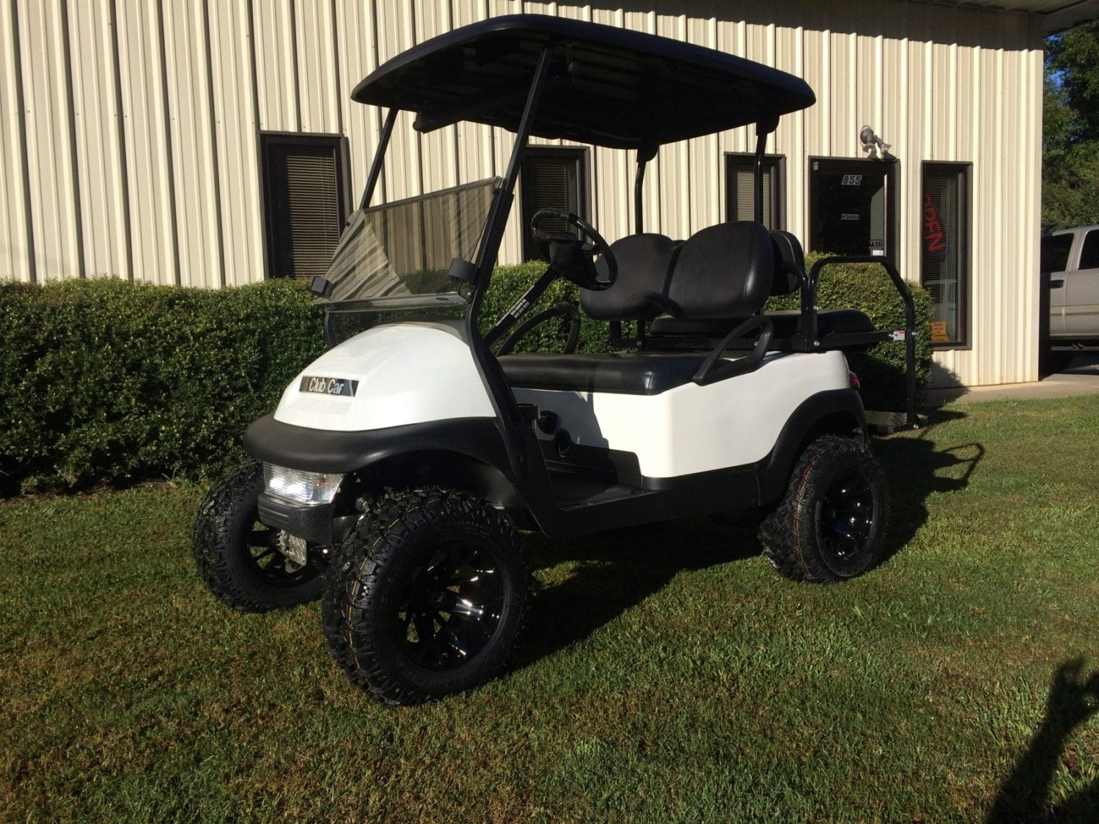 Great White Club Car Precedent Black Rhino Lined Roof. Black Seats. Folding Rear  Seat. Lights Tinted Windshield 5 Panel Mirror 6in All Sports Lift Kit
