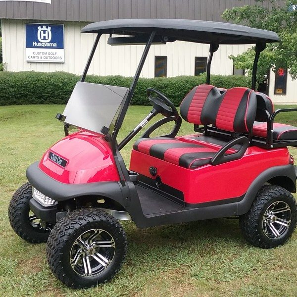 Red Club Car Precedent With Redblack Seats on classic black lifted club car precedent golf cart