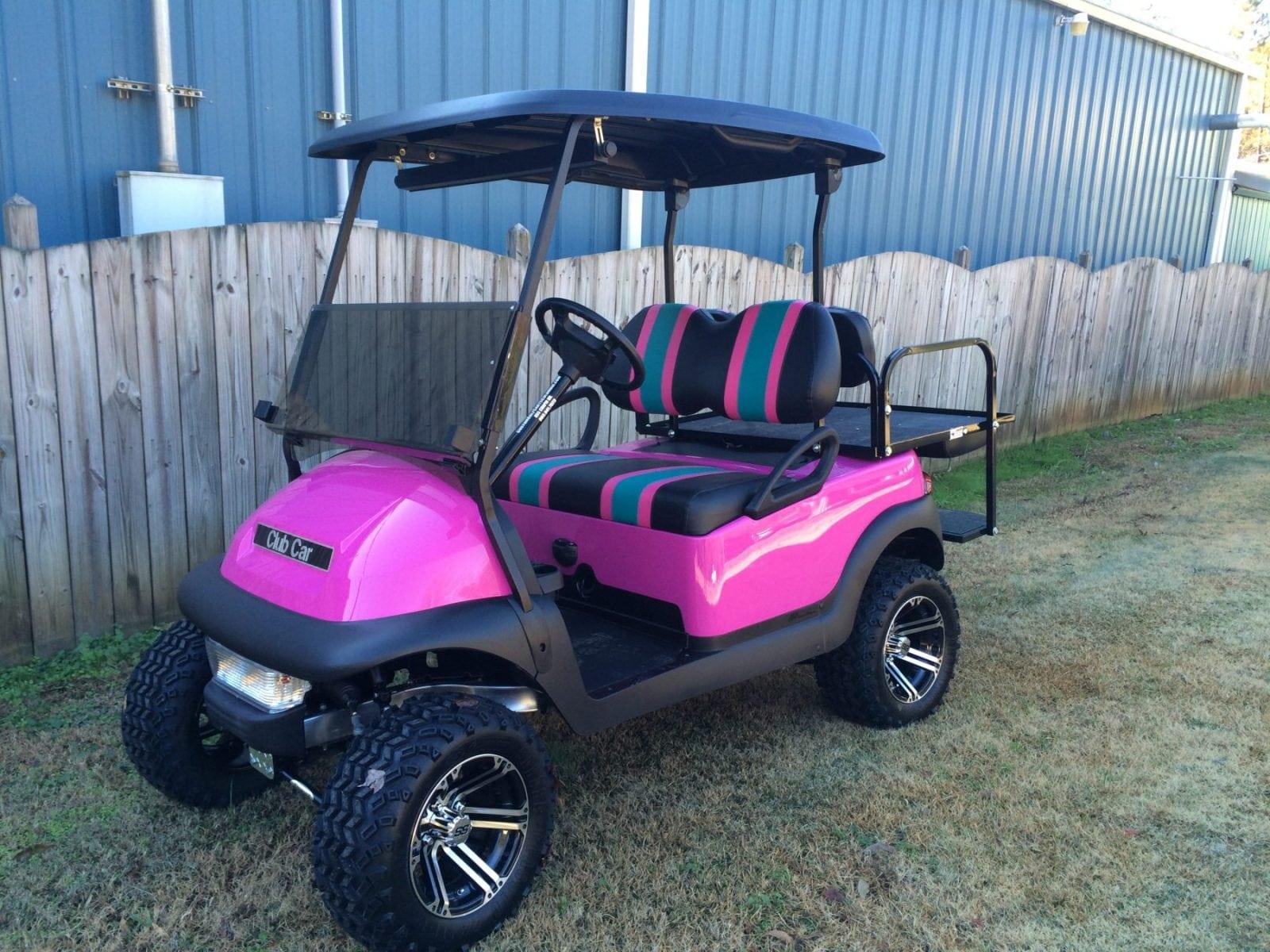 Pink club car precedent golf cart custom golf carts for Auto motor club comparisons